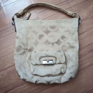 Coach Kristin Op Art Signature Sateen Khaki Hobo